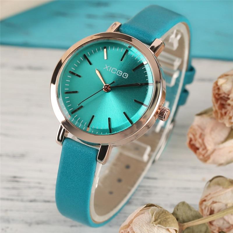 XICOO elegante pulsera de mujer relojes azul / verde banda de cuero - Relojes para mujeres