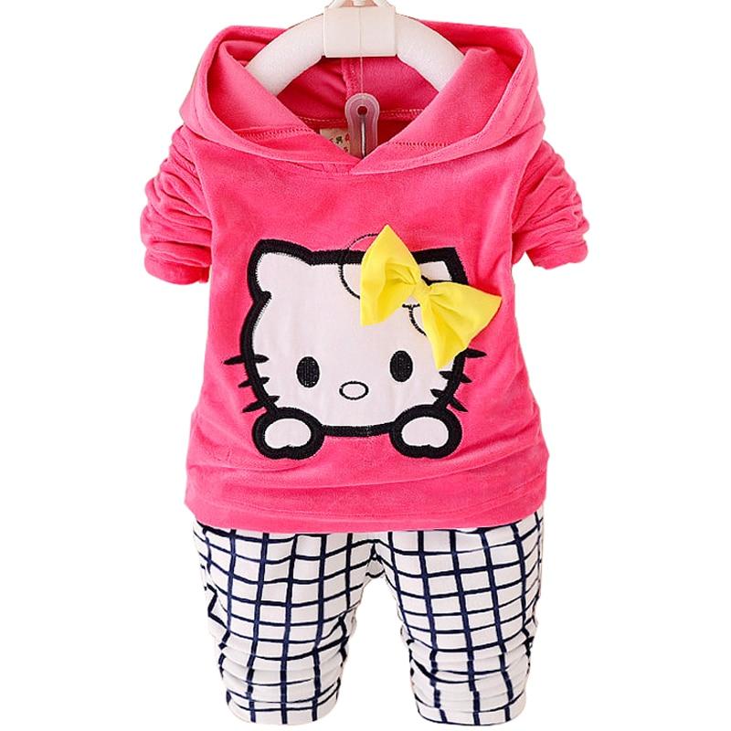 Весна на осень-зиму Детские Комплекты одежды Kity Одежда для младенцев Толстовки + штаны детская одежда спортивный костюм для девочек Костюмы