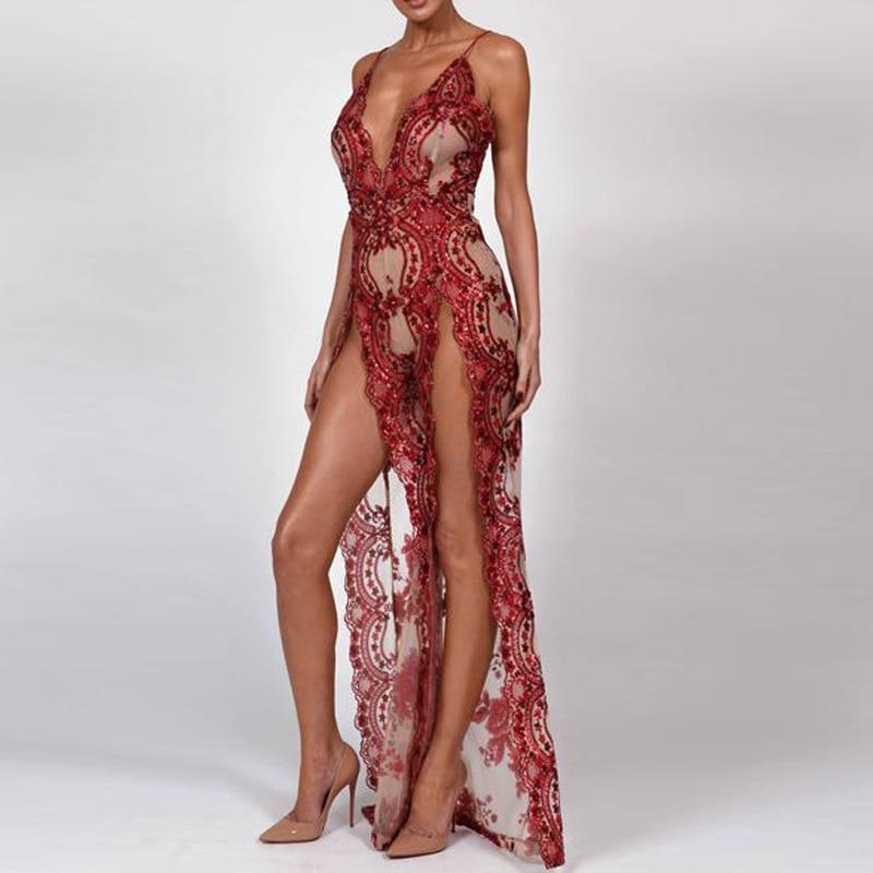 BKLD Vestido de Lantejoulas Spaghetti Strap V Neck Sexy Alta Dividir Longo Maxi Mulheres Vestido de Festa Glitter Paillettes Vestidos Vestido Feminino