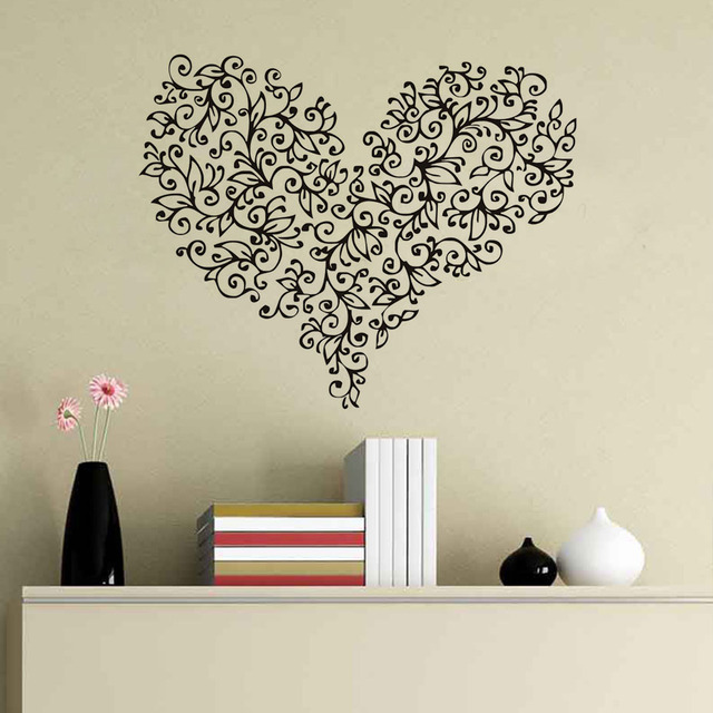 Flowers Heart Shaped Beautiful Pattern Wall Stickers Vintage Design Home Decor Vinyl Self Adhesive Wall Art  sc 1 st  AliExpress.com & Flowers Heart Shaped Beautiful Pattern Wall Stickers Vintage Design ...