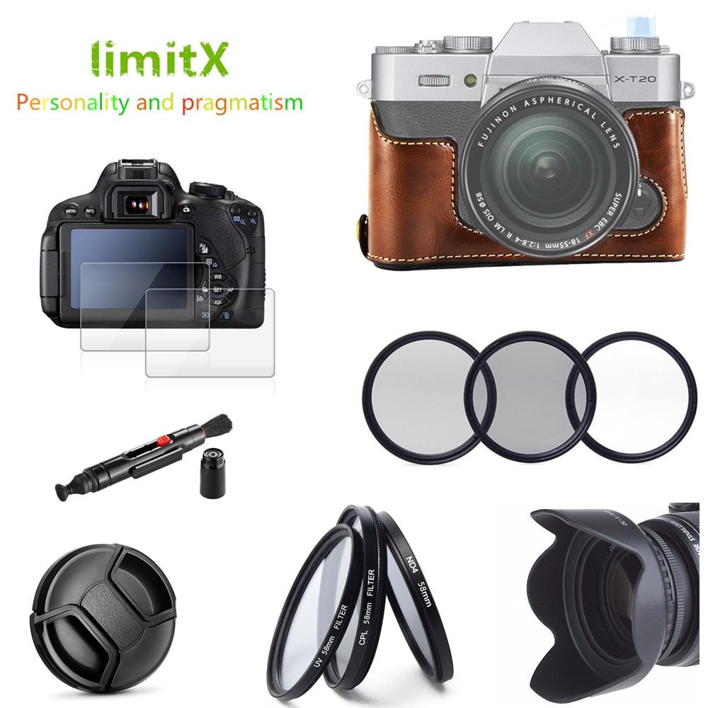 Half Body Leather Case Filter Lens Hood Glass Lcd Protector Screen Guard Fujifilm Xt10 Kit 096 Xt20