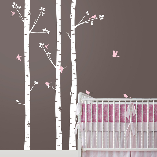 baby nursery wall stickers set of 3 birch trees with birds removable