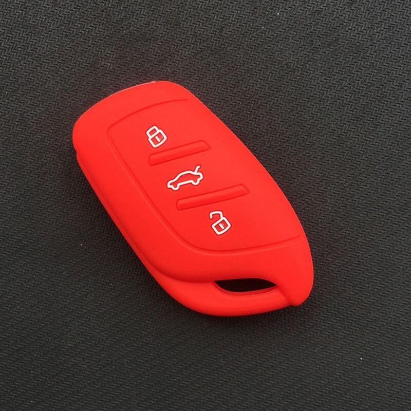 Силиконовый резиновый чехол для автомобильного Брелока Для MG ZS EV HS 3 кнопочный ключ - Название цвета: Красный