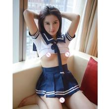 Sexy Lingerie Set Women Erotic Cosplay School Girl Costume Plaid Student Uniform Tops+Skirt Role Play Lenceria Underwear