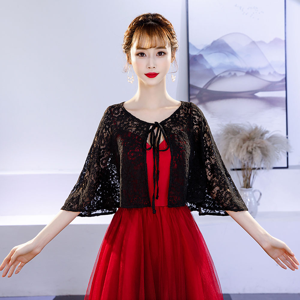Fashion Black Lace Wrap Women Summer Dress Cover Up Short Capalet Evening Party Sleeveless Shrug Bolero Handmade