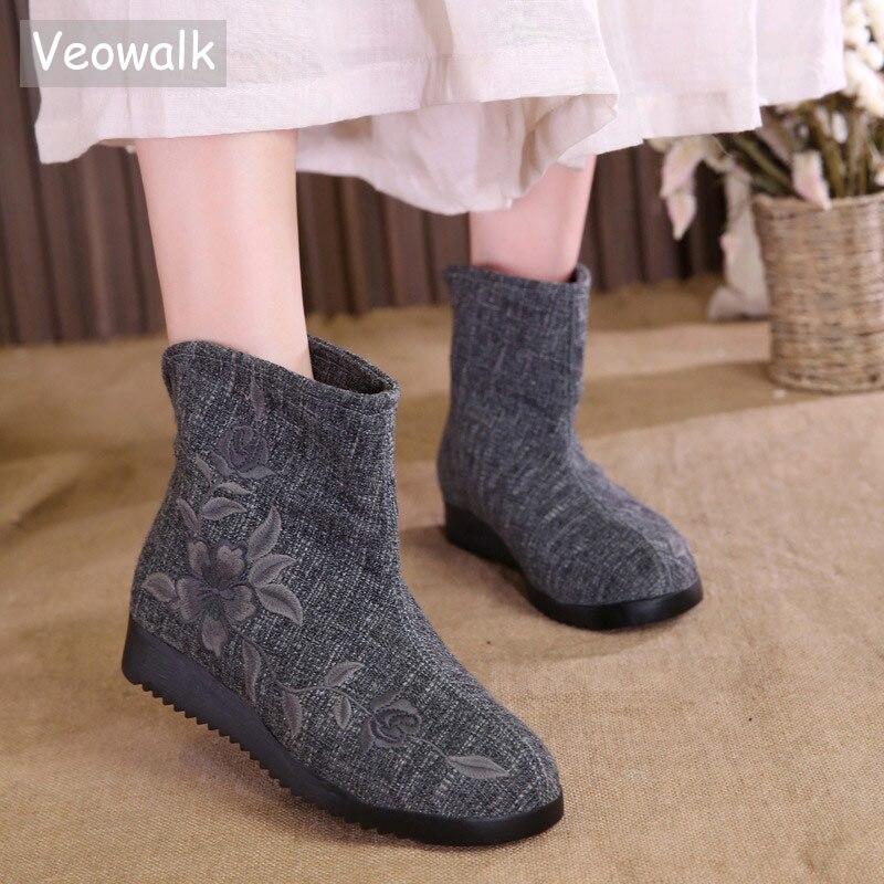 Veowalk Winter Women Flower Embroidery Denim Cotton Loose Short Ankle Boots Slip on Ladies Comfort Warm Lining Canvas Flat Shoes