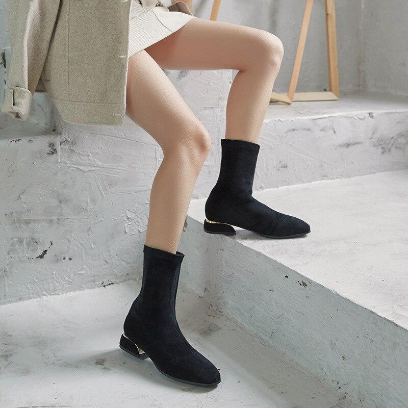 Gamuza 43 Felpa Para with 2018 42 Otoño Mujer En No Diseñador Bottes Sólido Plush Cuero Calcetines Botas Invierno De Cortas Famoso Deslizamiento Plush qZYtUU