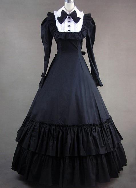 (GT012) complet sans manches Halloween Cosplay à manches longues Bowknot Costumes gothique victorien robe de princesse robe de bal Lolita robes
