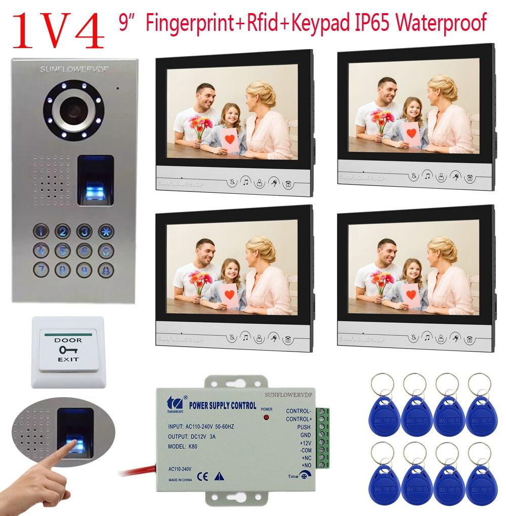 1v4 IP65 Waterproof Fingerprint Keypad Electronic Doorman With Camera 4 Color 9