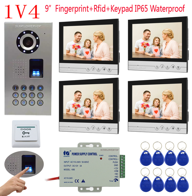 "1v4 IP65 Waterproof Fingerprint Keypad Electronic Doorman With Camera 4 Color 9"" Lcds Video Intercom For The Apartment 4 Units"