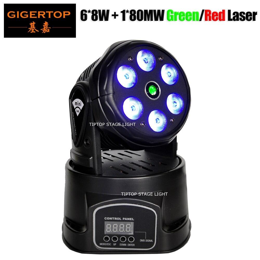 Freeshipping TP-L70D 100W Laser Led Moving Head Light Wash 6x8W RGBW 4IN1 DMX/Sound/Auto/Master-slave 80WM Green/150WM Red Laser laser head d ne830