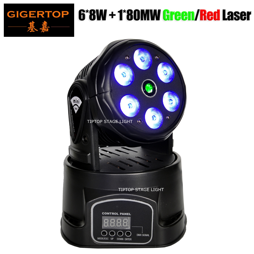 Freeshipping TP-L70D 100W Laser Led Moving Head Light Wash 6x8W RGBW 4IN1 DMX/Sound/Auto/Master-slave 80WM Green/150WM Red Laser