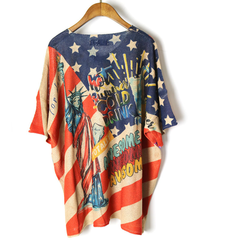 Fashion Cool Vintage American flag Harajuku Punk shirt women Ropa Mujer streetwear skateboard camiseta Loose plus Camouflage