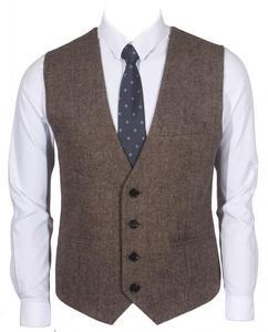 Фермерские Свадебные коричневые шерстяные твидовые жилеты с узором в елочку на заказ, британский стиль, жилет жениха, приталенный мужской к...