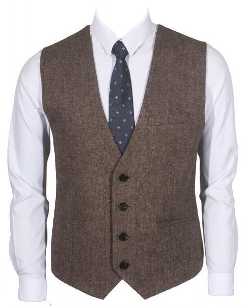 Farm Wedding Brown Wool Herringbone Tweed Vests Custom Made British Style Groom Vest Slim Fit Mens Suit Vest Waistcoat Dress