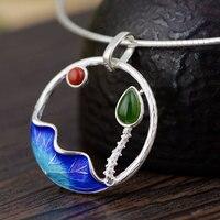 FNJ 925 Silver Lotus Flower Pendant For Jewelry Making Hetian Jade Red Agate Original Pure S925