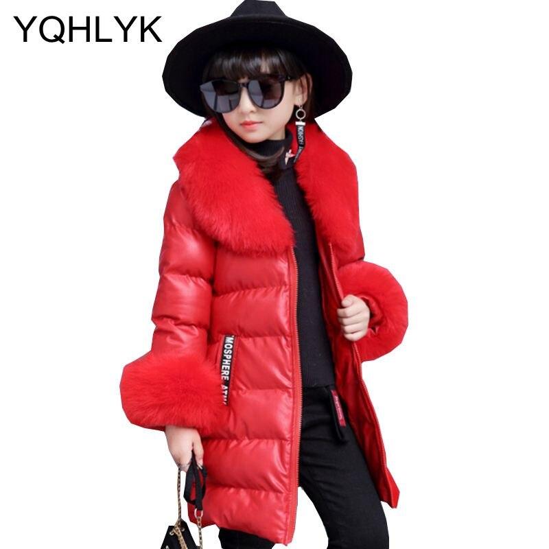 где купить New Fashion Winter Clothes Girls Coat 2017 Korean Children Thick Warm Leather Jacket Elegant Generous Kids Clothes W31 по лучшей цене