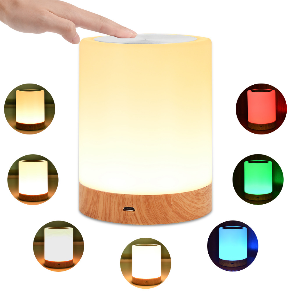 KMASHI LED Bedside Table Lamps Touch Lamp Night Light Rechargeable Warm White Light RGB Color Bedrooms