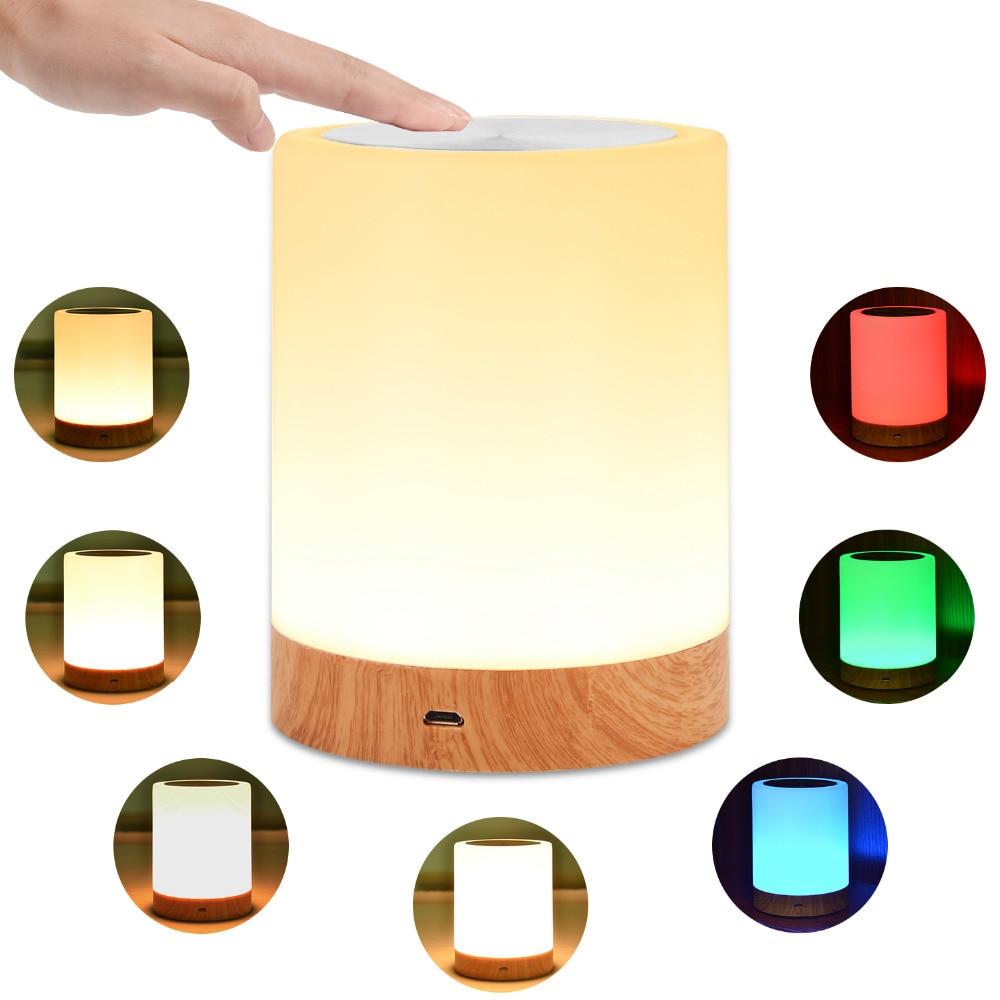KMASHI LED Lampes De Table De Chevet Tactile Lampe Nuit Lumière Rechargeable Chaud Blanc Lumière RGB Couleur Chambres Salon Portable