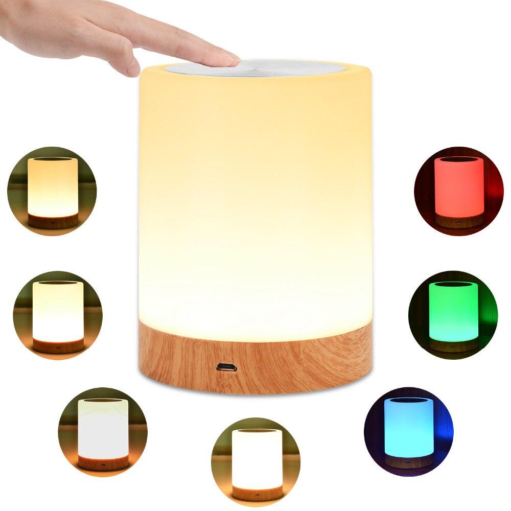 KMASHI LED Nachttisch Lampen Touch Lampe Nacht Licht Wiederaufladbare Warme Weiß Licht RGB Farbe Schlafzimmer Wohnzimmer Tragbare