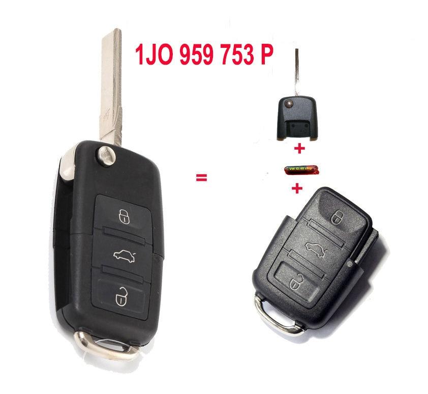 1J0 959 753 P 1J0959753P Folding Remote Key Transmitter Starter Alarm For VOLKSWAGEN 3B 433MHZ ID48