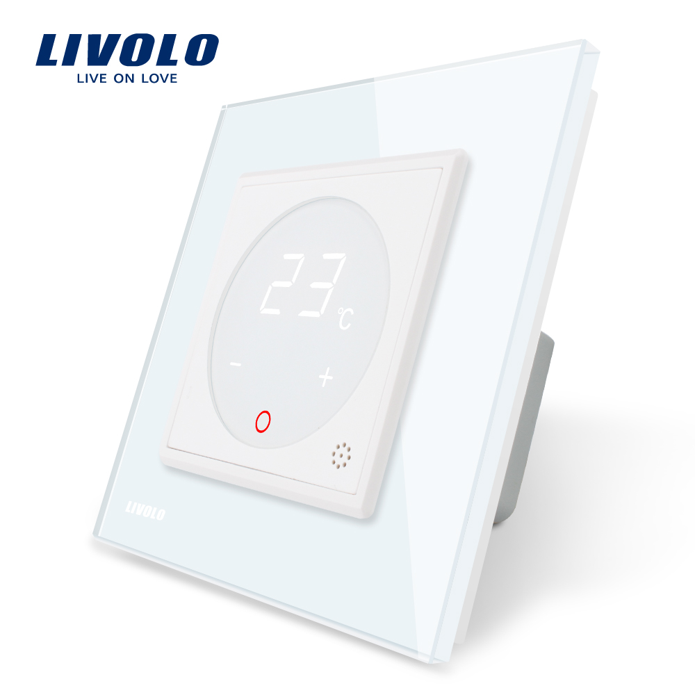 Livolo Thermostat Standard de L'UE de Contrôle De La Température, dispositif de Chauffage, Panneau Verre Cristal Blanc, AC 110-250 v, C701TM-11