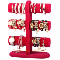 3 Layer Rose Color velvet bracelet holder /bangle stand/watch display stand holder rack tabletop showstand bangle holder