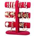 3-Layer Rose Color velvet bracelet holder /bangle stand/watch display stand holder rack tabletop showstand bangle holder