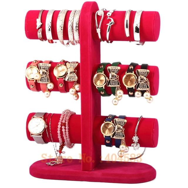 3 Layer Rose Color Velvet Bracelet Holder Bangle Stand Watch Display