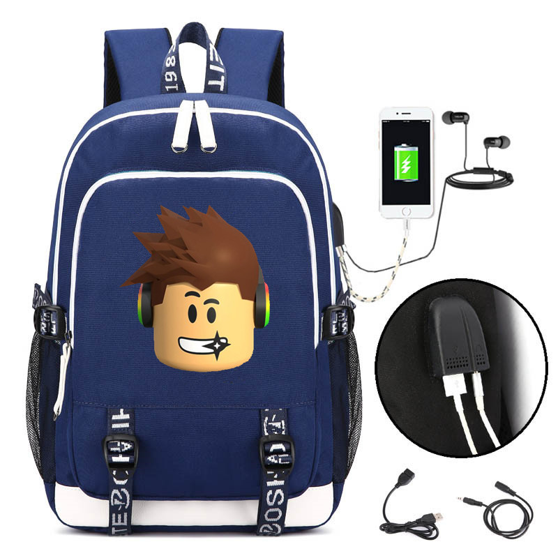 Detail Feedback Questions about Children School Bag Game Roblox Character  Printed Cartoon Children s USB Backpack Kids Boys Girls Gift Bag Action  Figure ... a53ac5610d