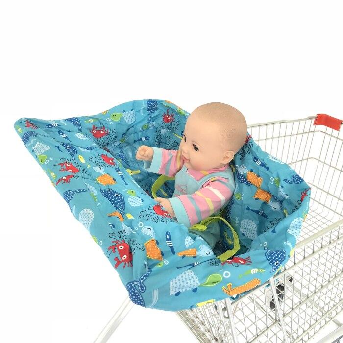 5 цветов Материал персиковый; кожа, вельвет Стандартный детский размер, корзина для покупок, стульчик для кормления и удобные корзину Обложка для младенцев и детей ясельного возраста - Цвет: Blue Colorful fish