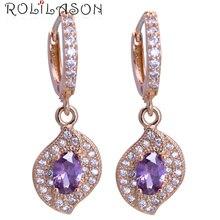 ROLILASON Wedding Delicate Crystal Earrings yellow gold color purple zircon fashion Jewelry Zirconia Drop Earrings JES1148