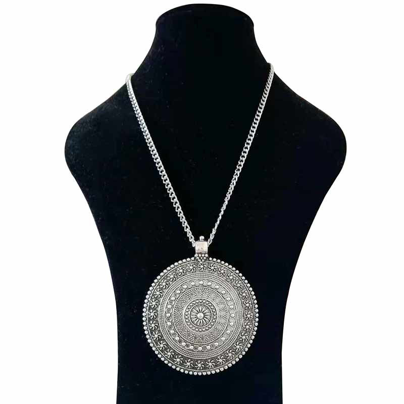 1 x Antique Silver Metal Abstract Boho Large Round Flower Medallion Jewelry Pendant Necklaces on Long Link Chain Lagenlook 34″