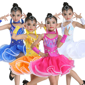 Children Girl Latin Dance Dresses Sequin Ballroom Tango Samba Salsa Rumba Dance Competition Dresses Latin Dance Wear for Stage