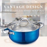 22cm stainless steel double bottom Cooking Pot soup pot compound sole soup pot sauceboxes skillet thickening