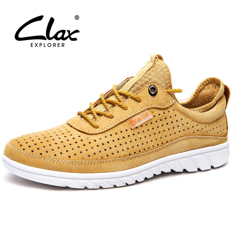 Clax Men's Casual Shoes 2017 Designer Suede Leather Footwear Male Summer Shoe Hollow Hole Breathable Walking Shoe clax men loafers shoes slip on 2017 summer autumn leather shoe for male casual footwear flat moccasin boat shoe breathable