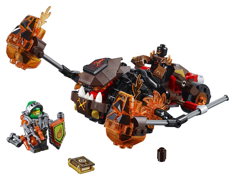 LEPIN Nexo Knights Moltor's Lava Smasher Combination Marvel Building Blocks Kits Toys Compatible Legoe Nexus цена