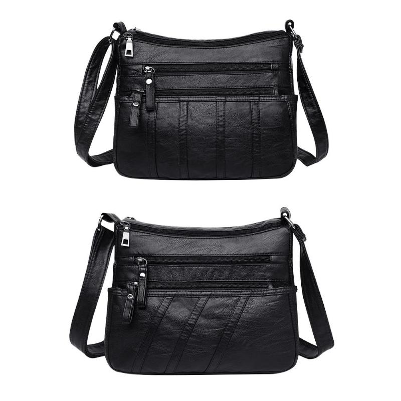 New Fashion Women Crossbody Bag Black Soft Washed Leather Shoulder Bag Patchwork Messenger Bags For Women 2019
