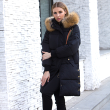 2018 Hooded Jacket Plus Size Long Women Winter Jacket With Real Raccoon Fur Collar Warm Thick Parka Cotton Padded Female Coat