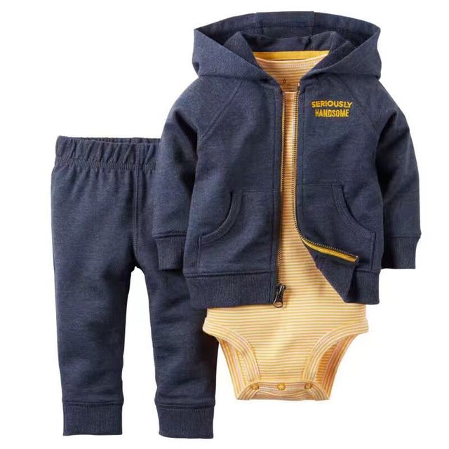 Fall Spring Baby Boys and Girls outwear coats 3pcs sets Hooded Cardigan + Long sleeve baby bodysuit + pants drop shipping 6-24m
