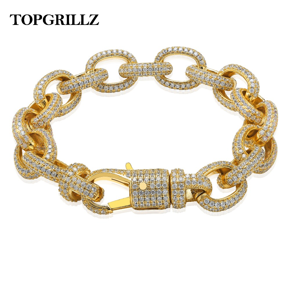 New Arrival 15mm Width Twisted Link Chain Mens Bracelet Iced Out AAA Bling Cubic Zirconia Hip