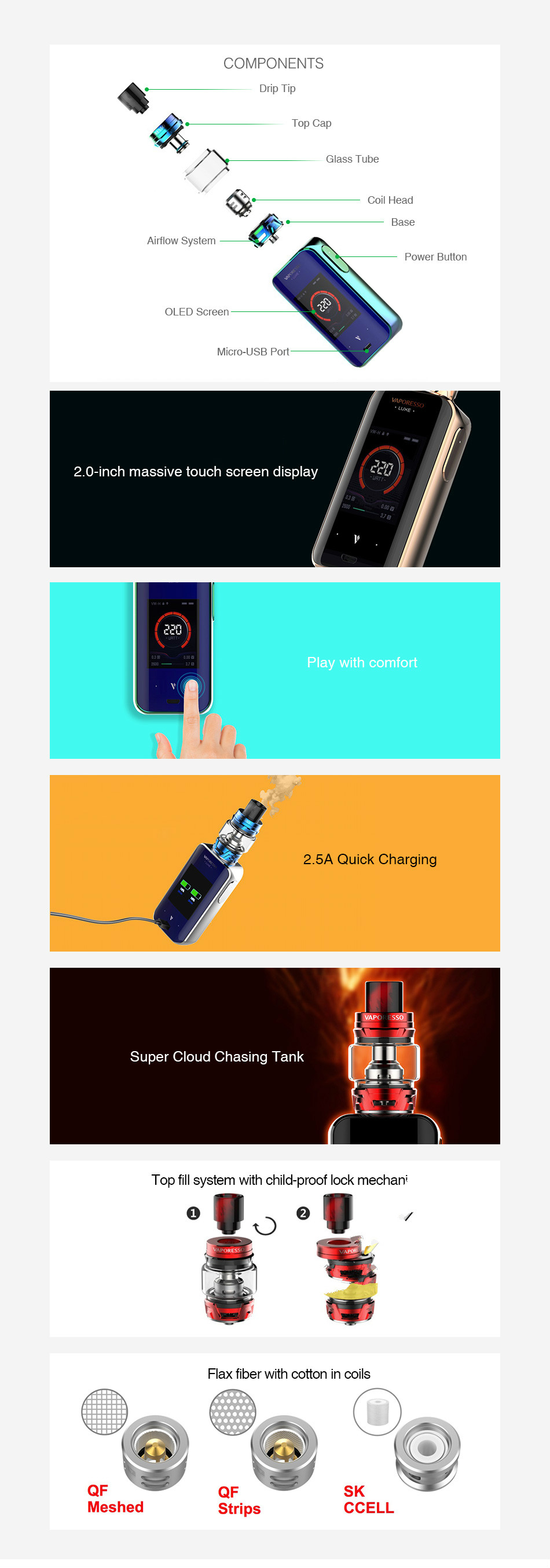 Vaporesso Luxe 220W Touch Screen TC Kit with SKRR