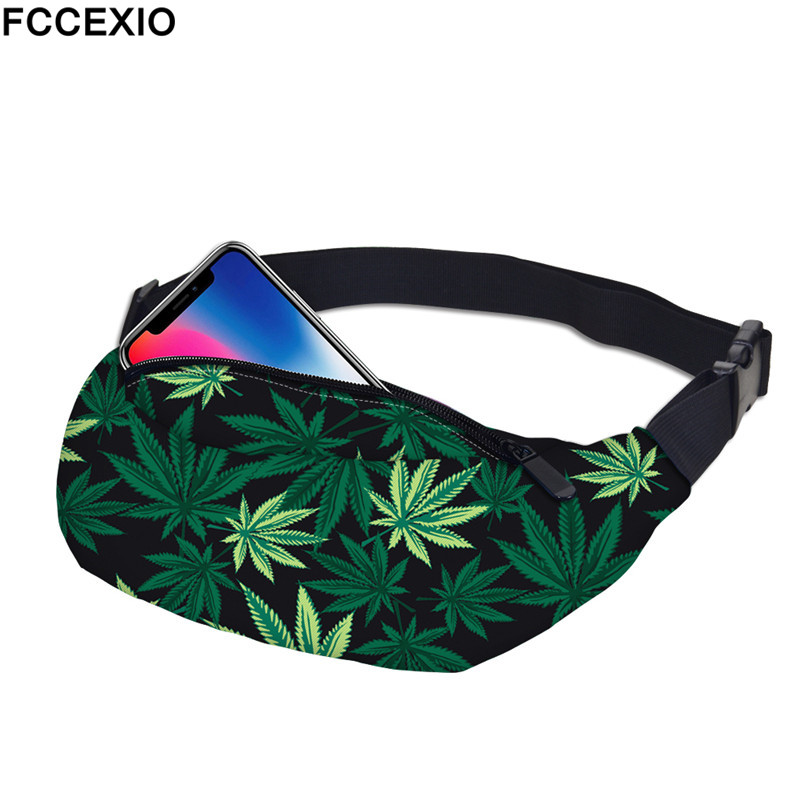 FCCEXIO New 3D Colorful Waist Pack For Men Fanny Pack Style Bum Bag Green Weeds Women Money Belt Travelling Mobile Phone Bags