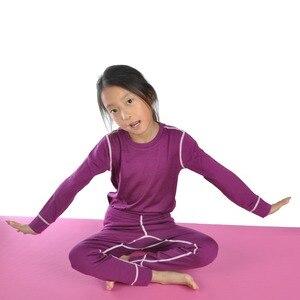 Image 3 - Новинка 100% года, детский зимний теплый свитер из чистой мериносовой шерсти, нижнее белье, Воздухопроницаемый Топ, штаны, нижний комплект для мальчиков и девочек
