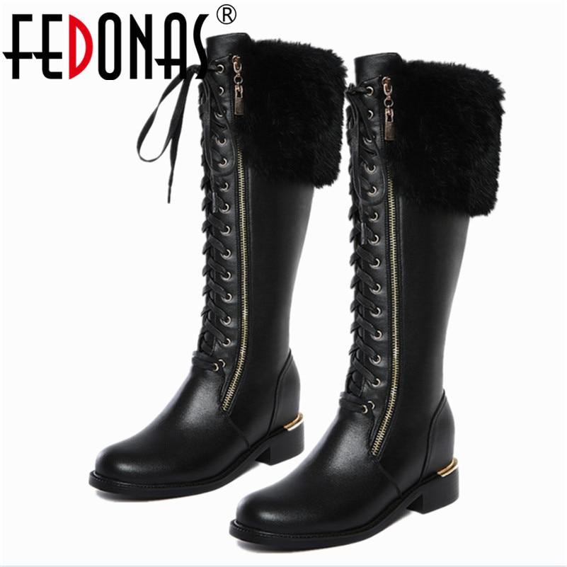 где купить  FEDONAS New Designer Womens Square Low Heel Riding Motorcycle Knee High Boots Punk Gothic Platform Lace Up Shoes Size34-43  по лучшей цене