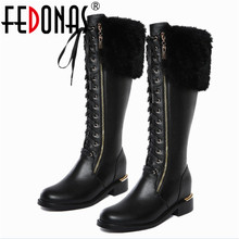 FEDONAS New Women Square Low Heel Riding Motorcycle Knee High Genuine Leather Winter Warm Snow Boots Gothic Boots Shoes Woman