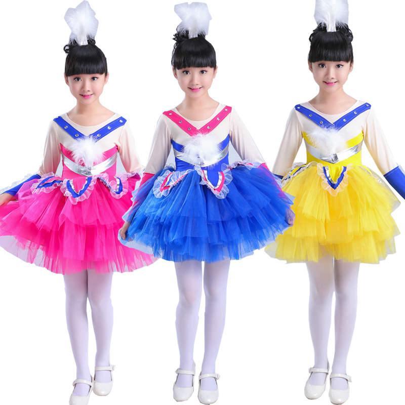 Child Girls Jazz Dancewear Costume Kids Modern Ballet Sequins Stage Dance Dress