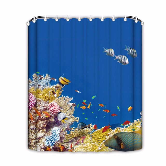 Underwater World Shower Curtains Coral Fish Bathroom Curtain Blue Waterproof Products Home