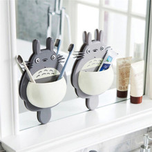 2018 High Quality Toothbrush Holder Cute Totoro Wall Mount Sucker Suction Organizer Home Bathroom Accessories