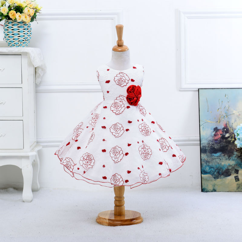 2017 New Fashion Summer new arrival flower princess girl dresses,baby girl party dress with flower 5 colors suit for 2-5 years стоимость